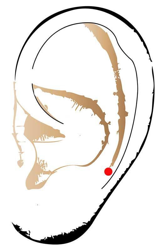 Mit Hilfe des Halspunktes lassen sich Nackenverspannungen lockern.
